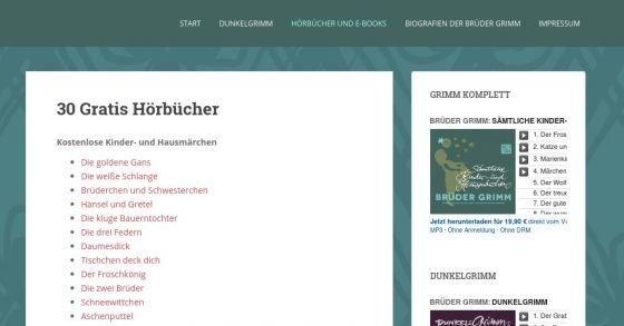 30 Märchen der Gebrüder Grimm kostenlos als MP3-Download
