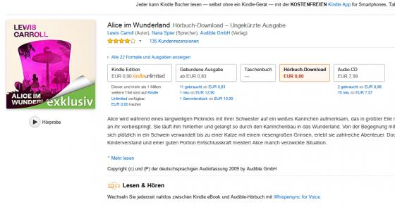 Alice im Wunderland gratis als Hörbuch-Download bei Audible!
