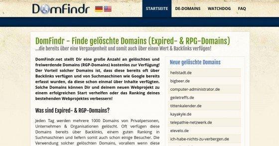 DomFindr.net - Täglich über 5000 gelöschte & auslaufende Domains mit Backlinks