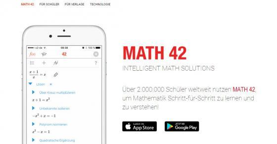 Gratis-App Math 42 zeigt Dir Mathelösungen und Rechenwege!