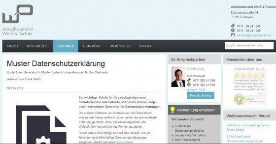 Gratis Online-Generator für die Datenschutzerklärung deiner Webseite