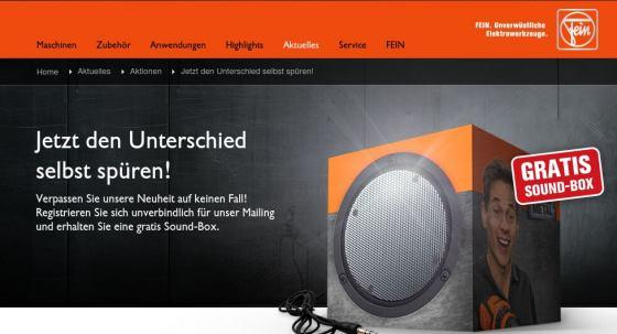 Gratis Sound-Box für Newsletter-Abonnement von Fein.com