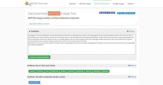 Gratis WDF*IDF Texteditor & -analyse für suchmaschinenoptimierte Texte