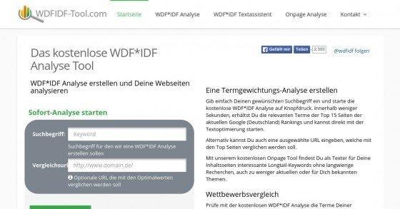 Gratis WDF*IDF-Tool, um deine Webseiten- & Artikeltexte für Suchmaschinen zu optimieren