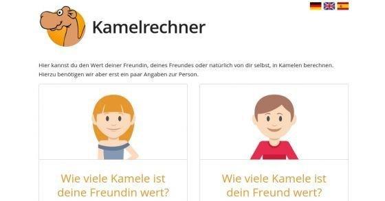 Kamelrechner - Wie viele Kamele ist deine Freundin/Freund wert?