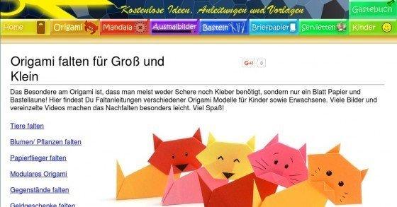 Lerne gratis die Kunst Origami-Figuren zu basteln bzw. zu falten