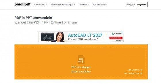 PDF-Dateien gratis online in Powerpoint-Präsentationen umwandeln
