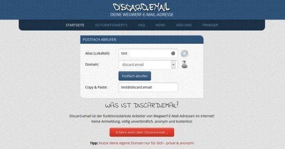 Spam-Schutz mit einer Wegwerf-E-Mail-Adresse von Discard.email