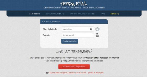 Spam-Schutz mit einer Wegwerf-eMail-Adresse von Tempr.email