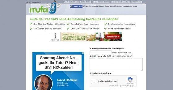 Unbegrenzt kostenlose SMS mit Mufa.de versenden